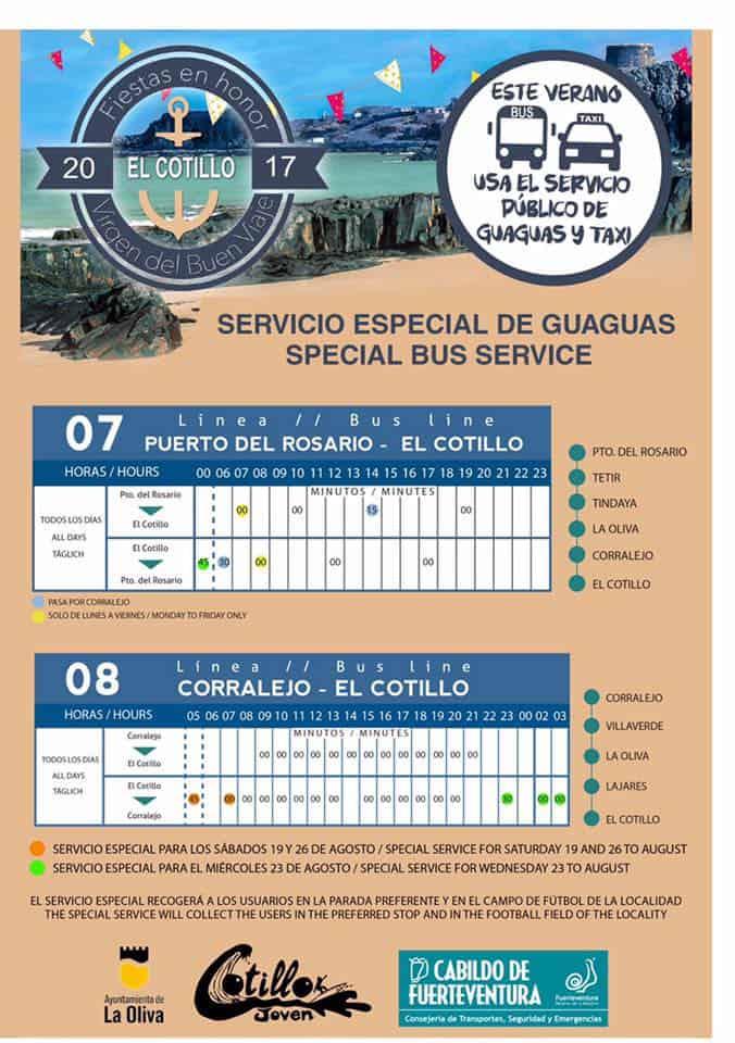 El Cotillo Fiesta Bus Service Timetable