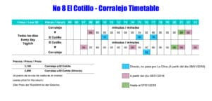 El Cotillo to Corralejo bus timetable